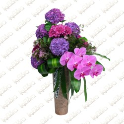 Purple feels flower arrangement
