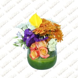 Tall Glass with flower arrangement