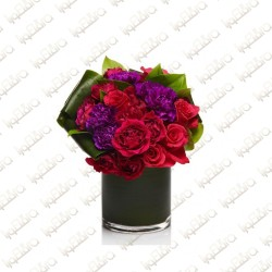 Red with Violet Flower Arrangement